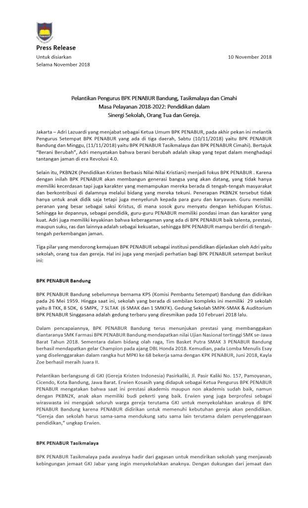 Press Release BPK PENABUR