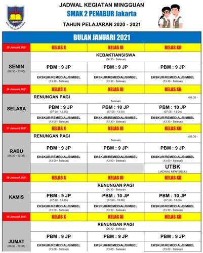Jadwal Kegiatan Minggu Ke Januari 2021